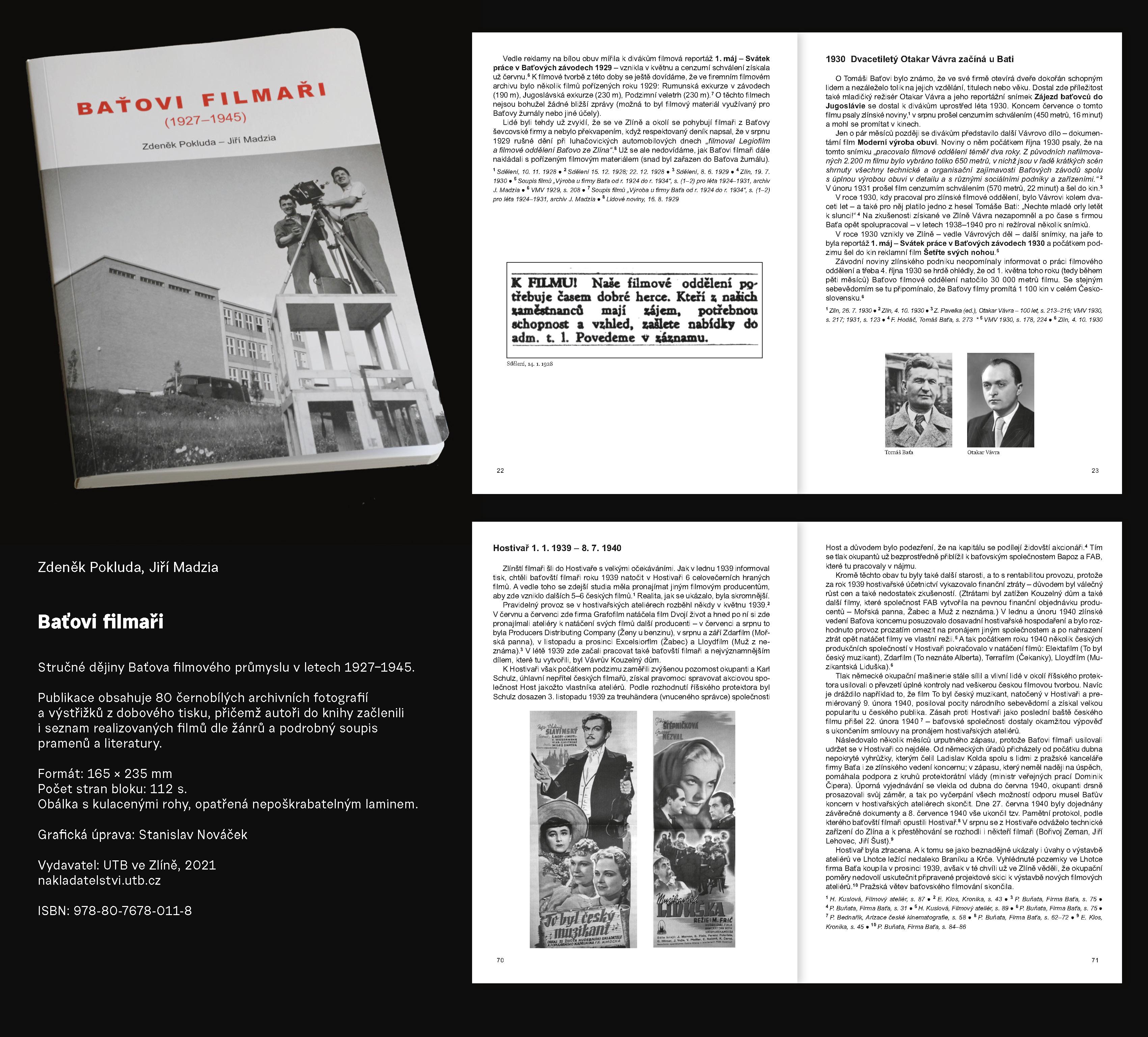 Průvodní list ke knize Baťovi filmaři